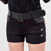 Mujer Clásico Media cintura Rígido Pantalones Pantalones,Color sólido N/A Verano