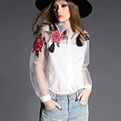 Mujer Simple Casual/Diario Primavera Camisa,Cuello Camisero Floral Manga Larga Poliéster Transparente