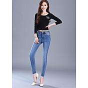 記号2017春モデルウエストジーンズ女性の足の鉛筆のズボンスリム薄いストレッチパンツの潮だった