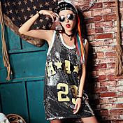 緩いノースリーブのベストの女性のロングTシャツの潮の本物のショット夏の人格スパンコールのドレスビッグヤードの長いセクション