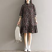 女性の長袖のドレスを底記号/ 2017花柄のスカートの長いセクション