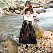 女性用 カラーブロック 日常 カジュアル 半袖 ラウンドネック