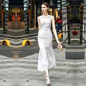 Mujer Línea A Vestido Noche Casual/Diario Un Color Escote Redondo Maxi Sin Mangas Poliéster Primavera Tiro Medio Rígido Medio