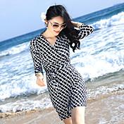 2017新しい印刷されたラップドレスVネックロングドレスビーチドレススリムスカート海辺のリゾート