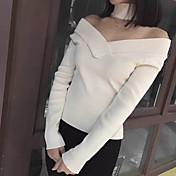 Mujer Regular Pullover Casual/Diario Clásico,Color sólido Cuello Barco Manga Larga N/A Otoño Medio Elástico