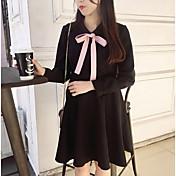 anliスタイルhepburn風ヒットカラー弓わずかにテクスチャウエスト小さな黒いドレス