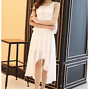 Mujer Línea A Vestido - Gasa, Color sólido Asimétrico