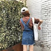 Mujer Recto Vestido Diario Calle Sexy,Color sólido Escote Redondo Sobre la Rodilla, Mini Manga Corta N/A Verano Tiro Alto Elástico Medio