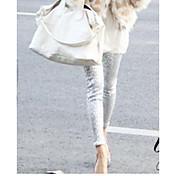 Mujer Un Color Color Sólido Tiro Medio Elástico Ajustado Delgado Pantalones,Color sólido Sexy N/A Invierno Otoño