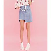 Signo versión coreana era fino de color claro botón de mezclilla faldas irregulares mujeres falda de mezclilla