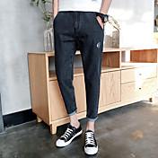 春と夏の新しい日本の十代のジーンズの人格魚の骨バックポケットアニマルプリントパンツの足9点