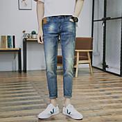 Hombre Clásico Media cintura Rígido Ajustado Pantalones,Color sólido N/A Primavera Verano