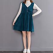 Mujer Línea A Vestido Casual/Diario Clásico,Color sólido Escote en Pico Hasta la Rodilla Sin Mangas N/A Otoño Alta cintura Elástico Medio