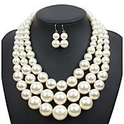 ジュエリーセット 欧米の 真珠 円形 ベージュ ダックコーヒー レッド 1×ネックレス 1×イヤリング(ペア) のために 結婚式 パーティー 日常 カジュアル 1セット ウェディングギフト
