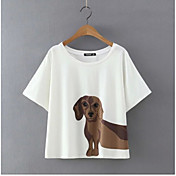 Mujer Clásico Diario Verano Camiseta,Escote Redondo Estampado Animal Manga Corta N/A Medio