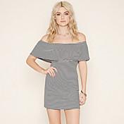 ヨーロッパとアメリカのアマゾンebay aliexpress爆発のモデルセクシーなstraplessの襟のパッケージのヒップストライプのドレス