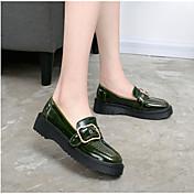 女性用 靴 レザー コンフォートシューズ ブーツ フラットヒール のために カジュアル ブラック アーミーグリーン