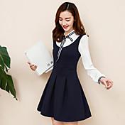 記号2017春の新しい弓の偽の2つの長袖のドレスpreppy襟プリーツスカートは薄かった