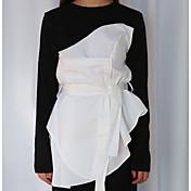 韓国シックな新しい春パーソナライズされたレースのウエスト不規則な偽の2つのTシャツのシャツ