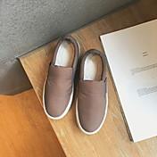 Mujer-Tacón Plano-Confort-Zapatos de taco bajo y Slip-Ons-Informal-Tejido-Negro Gris