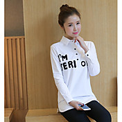 サインシャツの女性の長袖の白いシャツの頭の刺繍の文字韓国のバージョンボトミングシャツの長いセクション