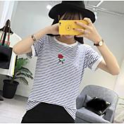 Mujer Simple Casual/Diario Camiseta,Escote Redondo A Rayas Bordado Manga Corta Algodón