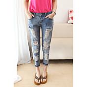 Mujer Casual Tiro Medio Rígido Corte Recto Vaqueros Pantalones,Un Color Primavera Verano