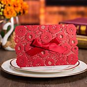ラップ式 結婚式の招待状-招待状カード フォーマル ビンテージ フローラル 花のスタイル カード用紙 リボン