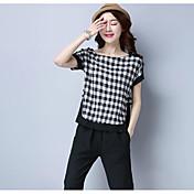 レディース お出かけ Tシャツ,アジアン・エスニック ラウンドネック チェック コットン 半袖