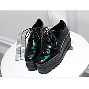 Mujer Tacones Zapatos con luz Goma Verano Casual Tacón Plano Negro Plano