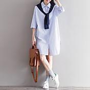 レディース カジュアル/普段着 シャツ,シンプル スクエアネック ストライプ コットン 七部袖