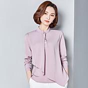 Mujer Simple Trabajo Primavera Camisa,Escote Chino Un Color Manga Larga Otro Fino