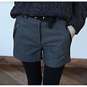 Mujer Casual Tiro Medio Microelástico Delgado Shorts Pantalones,Un Color Invierno Otoño