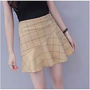 Mujer Simple Casual/Diario Mini Faldas,Línea A Verano Cuadrícula
