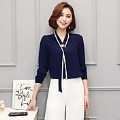 Dámské Jednobarevné Běžné/Denní Jednoduché Košile Polyester Do V Dlouhý rukáv Tenké