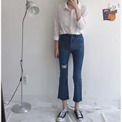 レディース シンプル ストリートファッション ハイライズ ブーッカット ジーンズ パンツ ゼブラプリント