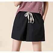 Mujer Tiro Alto Delgado Shorts Chinos Pantalones - Un Color