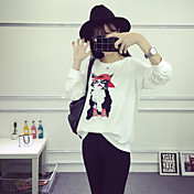 レディース カジュアル/普段着 Tシャツ,シンプル ラウンドネック アニマルプリント コットン 長袖