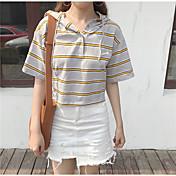 レディース カジュアル/普段着 春 夏 Tシャツ,シンプル アシメントリー ストライプ コットン 半袖 スモーキー