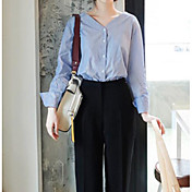 Mujer Simple Casual/Diario Camiseta,Escote en Pico Un Color Manga Larga Algodón Fino