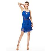 私たちはラテンダンスドレスの女性のパフォーマンスミルク繊維のドレスをしなければならない