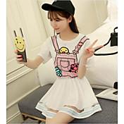 レディース カジュアル/普段着 夏 Tシャツ,シンプル ラウンドネック ソリッド コットン 半袖 薄手