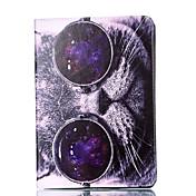 アップルipadプロ9.7 '' ipad 5 ipad 6ケースカバー猫パターンカードステントpu素材平らな保護シェル