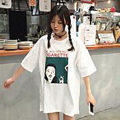 Mujer Simple Casual/Diario Primavera Verano Camiseta,Escote Redondo Estampado Manga Corta Algodón Fino