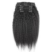 新しいブラジル人毛100%クリップインアフロ変態カーリークリップイン拡張髪に自然な黒7個/セットを編みます