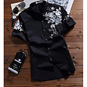メンズ カジュアル/普段着 夏 シャツ,シンプル シャツカラー プリント コットン 半袖 薄手