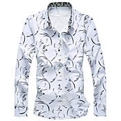 メンズ カジュアル/普段着 ビーチ 夏 シャツ,シンプル 活発的 シャツカラー ストライプ フラワー ギャラクシー コットン レーヨン 長袖 薄手