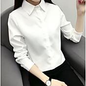 Mujer Casual Diario Camisa,Cuello Camisero Un Color Manga Larga Algodón
