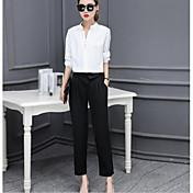 Mujer Casual Otoño Camisa Pantalón Trajes,Escote en Pico Un Color 98% Algodón 2% Spendex