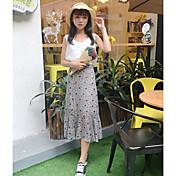 レディース シンプル カジュアル/普段着 マキシ丈 スカート 純色 プリント 夏